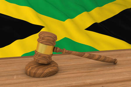 Jamaican Law Concept - Flag of Jamaica Behind Judges Gavel 3D Illustration