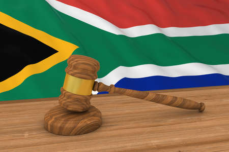 south african flag: South African Law Concept - Flag of South Africa Behind Judges Gavel 3D Illustration Stock Photo