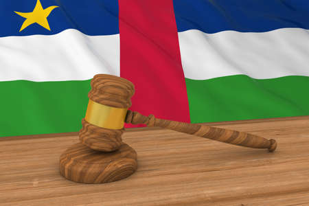central african republic: Flag of the Central African Republic Behind Judges Gavel 3D Illustration