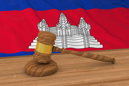 cambodian flag: Cambodian Law Concept - Flag of Cambodia Behind Judges Gavel 3D Illustration Stock Photo
