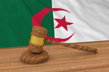 algerian flag: Algerian Law Concept - Flag of Algeria Behind Judges Gavel 3D Illustration