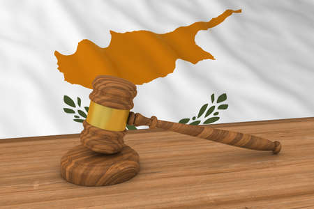verdicts: Cypriot Law Concept - Flag of Cyprus Behind Judges Gavel 3D Illustration Stock Photo
