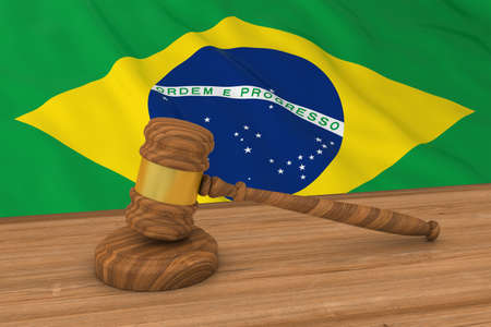 Brazilian Law Concept - Flag of Brazil Behind Judges Gavel 3D Illustration