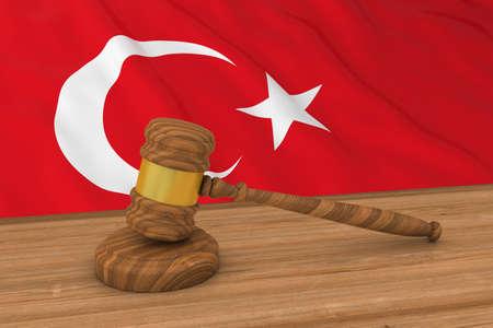 Turkish Law Concept - Flag of Turkey Behind Judges Gavel 3D Illustration