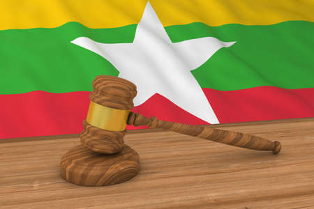 burmese: Burmese Law Concept - Flag of Myanmar Behind Judges Gavel 3D Illustration Stock Photo