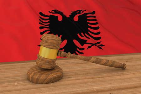 albanian: Albanian Law Concept - Flag of Albania Behind Judges Gavel 3D Illustration