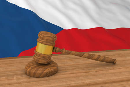 Czech Law Concept - Flag of the Czech Republic Behind Judges Gavel 3D Illustration Imagens