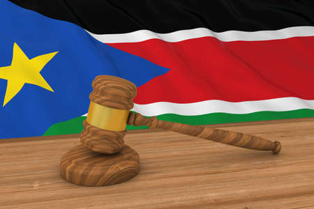 south sudan: South Sudanese Law Concept - Flag of South Sudan Behind Judges Gavel 3D Illustration