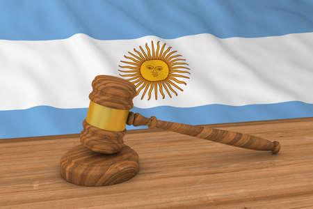 argentinian flag: Argentinian Law Concept - Flag of Argentina Behind Judges Gavel 3D Illustration Stock Photo