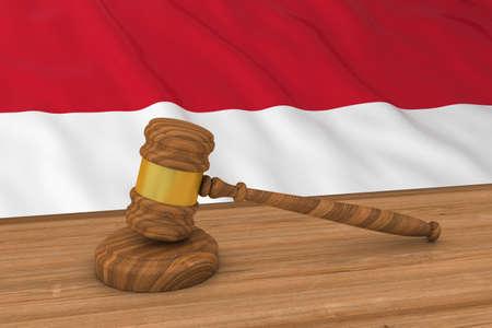 Flag of Monaco  Indonesia Behind Judges Gavel 3D Illustration