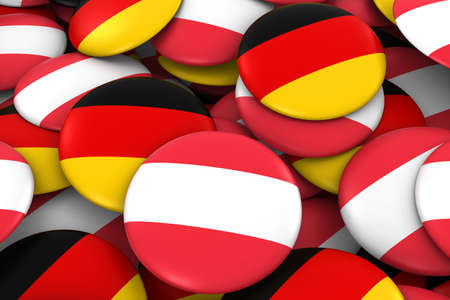 austrian: Austria and Germany Badges Background - Pile of Austrian and German Flag Buttons 3D Illustration Stock Photo