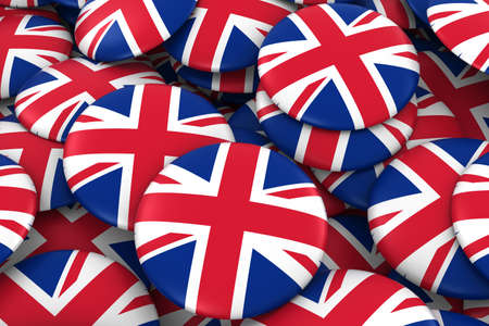 uk flag: United Kingdom Badges Background - Pile of UK Flag Buttons 3D Illustration Foto de archivo