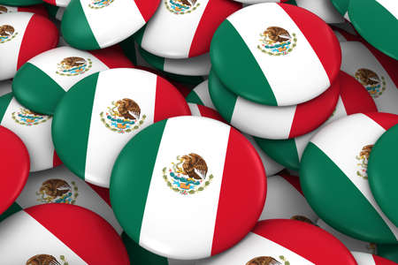mexican flag: Mexico Badges Background - Pile of Mexican Flag Buttons 3D Illustration