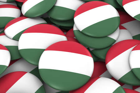 hungarian: Hungary Badges Background - Pile of Hungarian Flag Buttons 3D Illustration