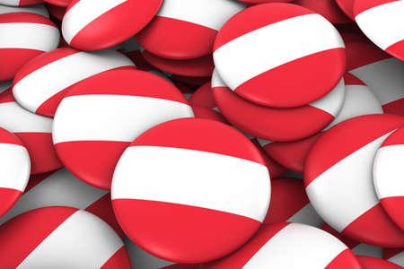 austrian: Austria Badges Background - Pile of Austrian Flag Buttons 3D Illustration