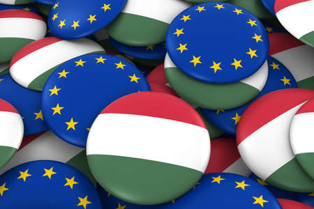 hungarian: Hungary and Europe Badges Background - Pile of Hungarian and European Flag Buttons 3D Illustration Stock Photo