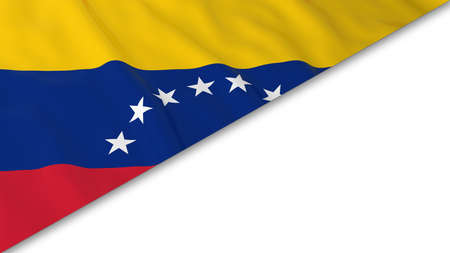 venezuelan: Venezuelan Flag corner overlaid on White background - 3D Illustration