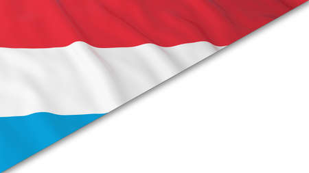 Luxembourgish Flag corner overlaid on White background - 3D Illustration Stock Photo
