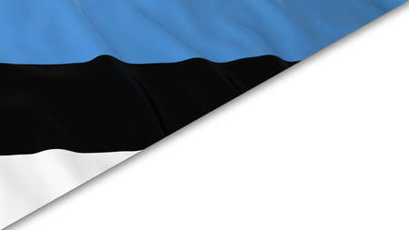 estonian: Estonian Flag corner overlaid on White background - 3D Illustration