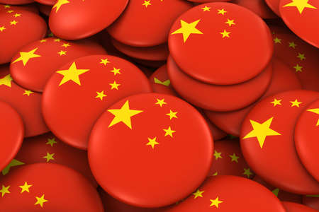 chinese flag: China Badges Background - Pile of Chinese Flag Buttons 3D Illustration Stock Photo
