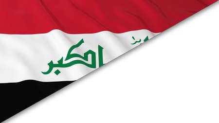 iraqi: Iraqi Flag corner overlaid on White background - 3D Illustration