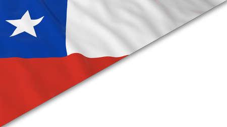 chilean flag: Chilean Flag corner overlaid on White background - 3D Illustration