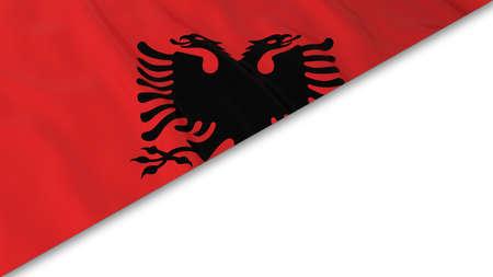 albanian: Albanian Flag corner overlaid on White background - 3D Illustration