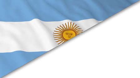 argentinian flag: Argentinian Flag corner overlaid on White background - 3D Illustration Stock Photo