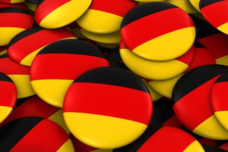 german flag: Germany Badges Background - Pile of German Flag Buttons 3D Illustration Stock Photo