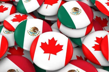 mexican flag: Canada and Mexico Badges Background - Pile of Canadian and Mexican Flag Buttons 3D Illustration