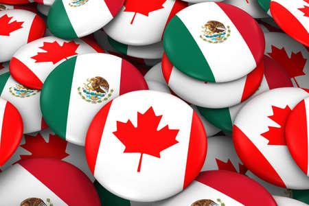 drapeau mexicain: Canada et Mexique Badges Contexte - Pile de boutons de drapeau canadien et mexicain Illustration 3D