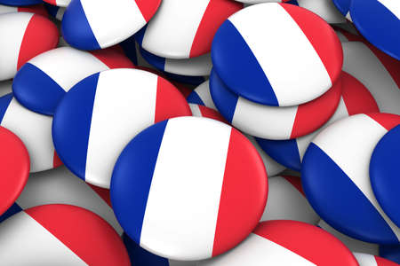 french flag: France Badges Background - Pile of French Flag Buttons 3D Illustration Stock Photo