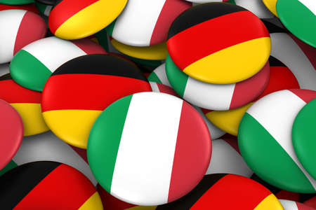 german flag: Italy and Germany Badges Background - Pile of Italian and German Flag Buttons 3D Illustration