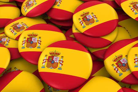 spanish flag: Spain Badges Background - Pile of Spanish Flag Buttons 3D Illustration