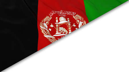afghan flag: Afghan Flag corner overlaid on White background - 3D Illustration