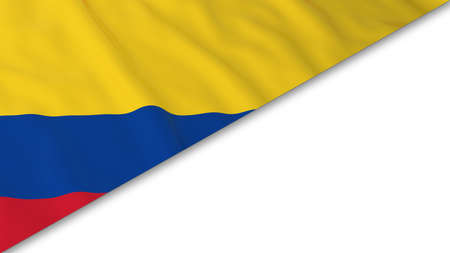 colombian flag: Colombian Flag corner overlaid on White background - 3D Illustration Stock Photo