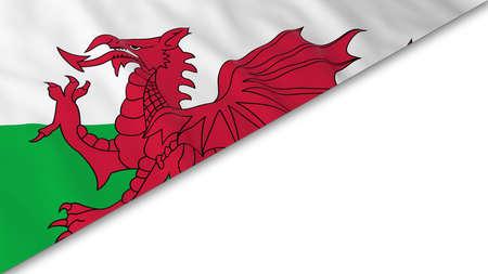 welsh flag: angolo bandiera gallese sovrapposto su sfondo bianco - illustrazione 3D