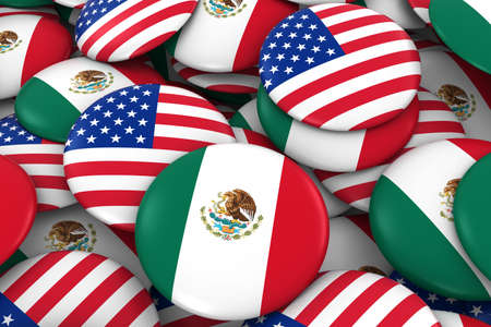 bandera de mexico: USA and Mexico Badges Background - Pile of American and Mexican Flag Buttons 3D Illustration