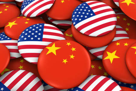 chinese american: USA and China Badges Background - Pile of American and Chinese Flag Buttons 3D Illustration