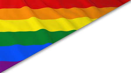 gay pride flag: Gay Pride Flag corner overlaid on White background - 3D Illustration