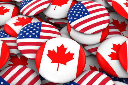 canadian flag: USA and Canada Badges Background - Pile of American and Canadian Flag Buttons 3D Illustration Stock Photo