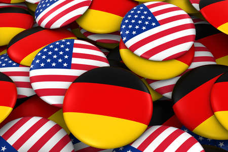 Germany and USA Badges Background - Pile of German and US Flag Buttons 3D Illustration