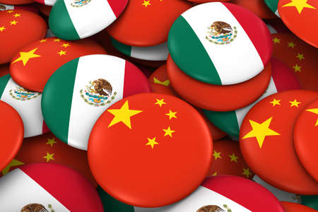 drapeau mexicain: Chine et Mexique Badges Contexte - Pile de chinois et mexicains Flag Buttons Illustration 3D Banque d'images