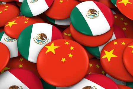 drapeau mexicain: Chine et Mexique Badges Contexte - Pile de chinois et mexicains Flag Buttons Illustration 3D Banque d'images