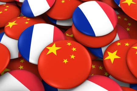 french flag: China and France Badges Background - Pile of Chinese and French Flag Buttons 3D Illustration