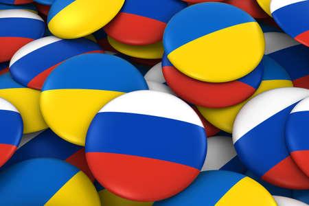 ukrainian flag: Russia and Ukraine Badges Background - Pile of Russian and Ukrainian Flag Buttons 3D Illustration