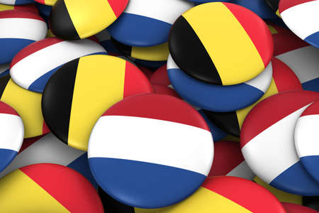 Netherlands and Belgium Badges Background - Pile of Dutch and Belgian Flag Buttons 3D Illustration Stock Photo