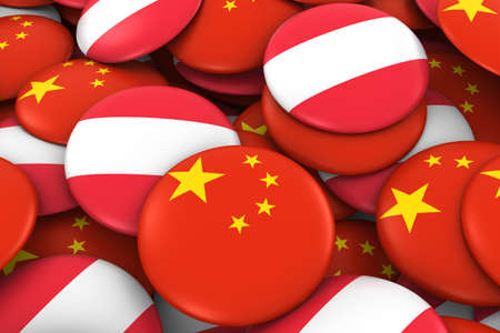 austrian: China and Austria Badges Background - Pile of Chinese and Austrian Flag Buttons 3D Illustration