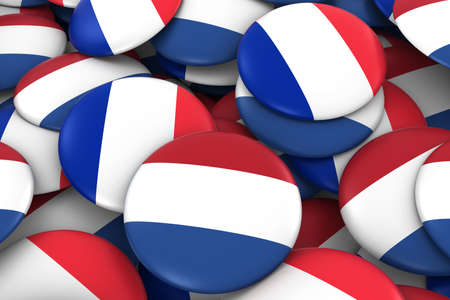 french flag: Netherlands and France Badges Background - Pile of Dutch and French Flag Buttons 3D Illustration Stock Photo