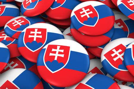 slovakian: Slovakia Badges Background - Pile of Slovakian Flag Buttons 3D Illustration
